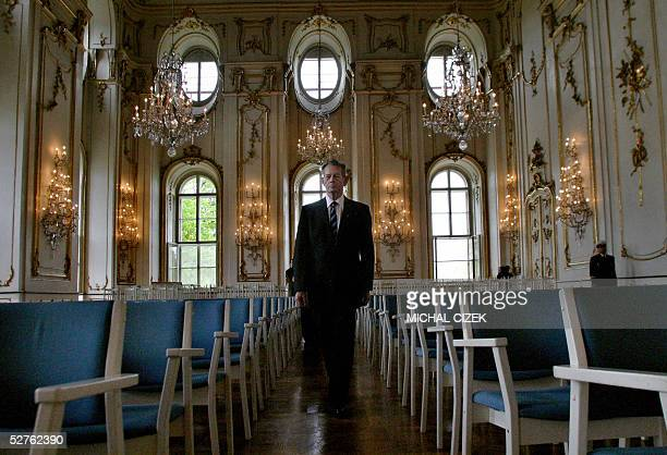 Romania's former king Michael visits Kromeriz Castle 05 May 2005 after paying homage to Romanian soldiers who died in World War II King Michael began...