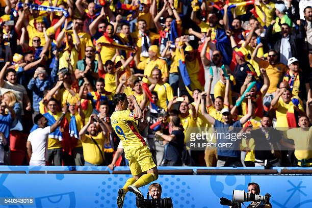 Romania's forward Bogdan Stancu celebrates after scoring his team's first goal from a penalty kick during the Euro 2016 group A football match...