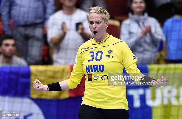 Romania's goalkeeper Paula Ungureanu reacts during the Women's European Handball Championship Group D match between Norway and Romania in Helsingborg...