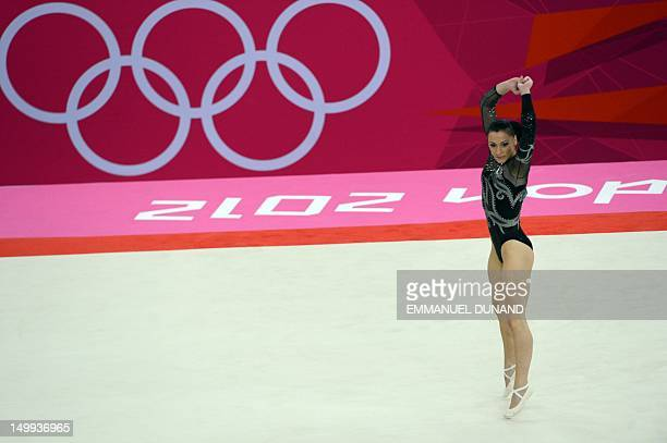 Romania's gymnast Catalina Ponor performs during the women' s floor exercise final of the artistic gymnastics event of the London Olympic Games on...