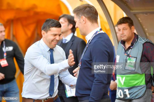 Romania's head coach Cosmin Contra and Serbia's head coach Mladen Krstajic reacts during the UEFA Nations League league 4 group 4 soccer match...