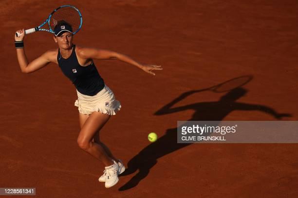Romania's Irina-Camelia Begu plays a forehand to Britain's Johanna Konta on day four of the Women's Italian Open at Foro Italico on September 17,...