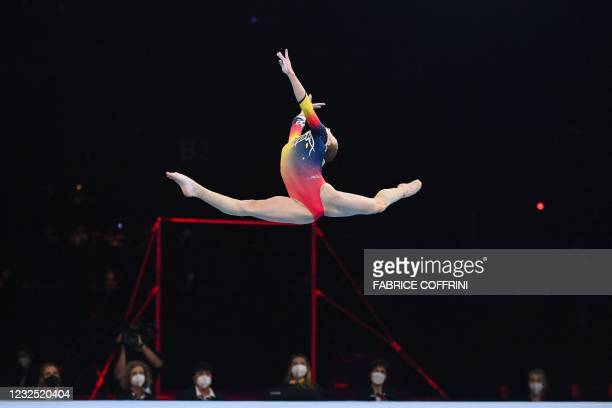 Romania's Maria Ceplinschi competes in the Women's floor apparatus final of the 2021 European Artistic Gymnastics Championships at the St...