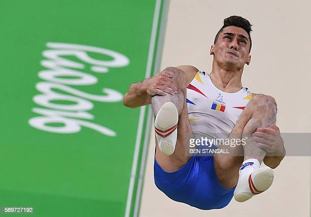Romania's Marian Dragulescu competes in the men's vault event final of the Artistic Gymnastics at the Olympic Arena during the Rio 2016 Olympic Games...