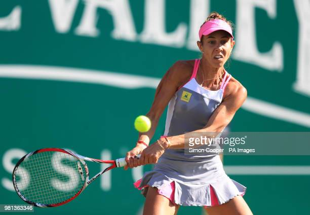 Romania's Mihaela Buzarnescu in action during her quarter final against Ukraine's Elina Svitolina during day five of the Nature Valley Classic at...