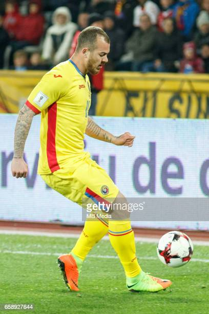 Romania's national soccer player Denis Alibec controls the ball during the 2018 FIFA World Cup qualifier soccer game between Romania and Denmark on...