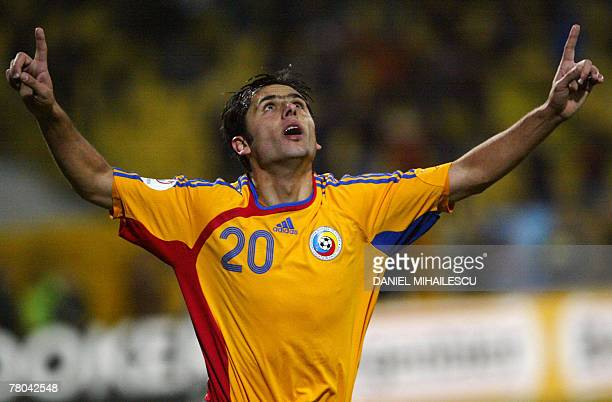 Romania's Nicolae Dica celebrates after scoring against Albania during their EURO 2008 Group G qualifying football match in Bucharest 21 November...