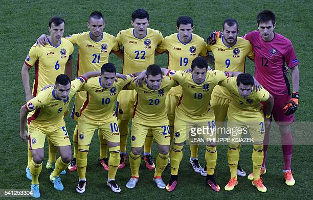 Romania's players Romania's midfielder Ovidiu Hoban Romania's midfielder Nicolae Claudiu Stanciu Romania's midfielder Adrian Popa Romania's...