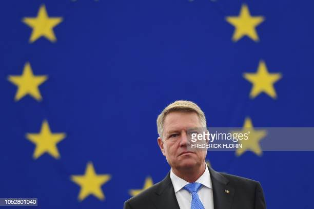 Romania's President Klaus Werner Iohannis arrives for a debate on the future of Europe at the European Parliament on October 23 2018 in Strasbourg...