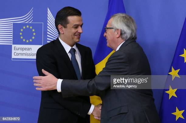 Romania's Prime Minister Sorin Grindeanu meets with European Commission President JeanClaude Juncker upon his arrival at the European Commission in...