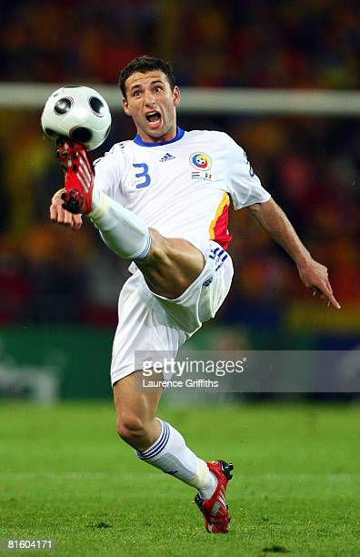 Romania's Razvan Rat controls the ball during the UEFA EURO 2008 Group C match between Netherlands and Romania at Stade de Suisse Wankdorf on June 17...