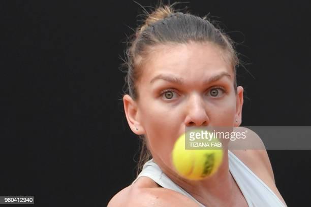 Romania's Simona Halep returns the ball to Ukraine's Elina Svitolina during the women's final at Rome's WTA Tennis Open tournament at the Foro...