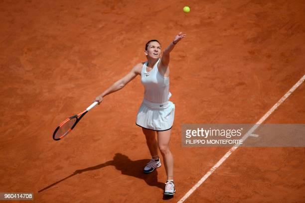 Romania's Simona Halep serves during the women's final against Ukraine's Elina Svitolina at Rome's WTA Tennis Open tournament at the Foro Italico on...
