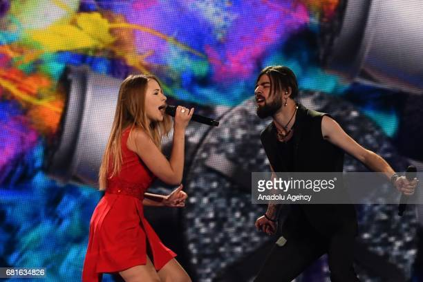 Romania's singers Ilinca and Alex Florea perform the song 'Yodel It' during the second semifinal dress rehearsal of Eurovision Song Contest 2017 at...