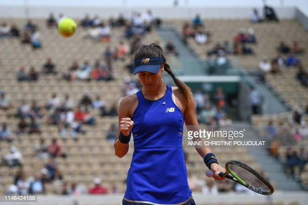 Romania's Sorana Cirstea reacts during her women's singles first round match against Slovenia's Kaja Juvan on day two of The Roland Garros 2019...