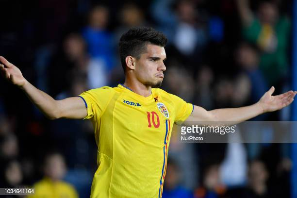 Romania's U21 Ianis Hagi celebrates after scoring during European Under21 Championship 2019 Qualifying Round between Romania U21 and Bosnia and...