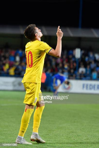 Romania's U21 Ianis Hagi reacts after scores during European Under21 Championship 2019 Qualifying Round between Romania U21 and Bosnia and...