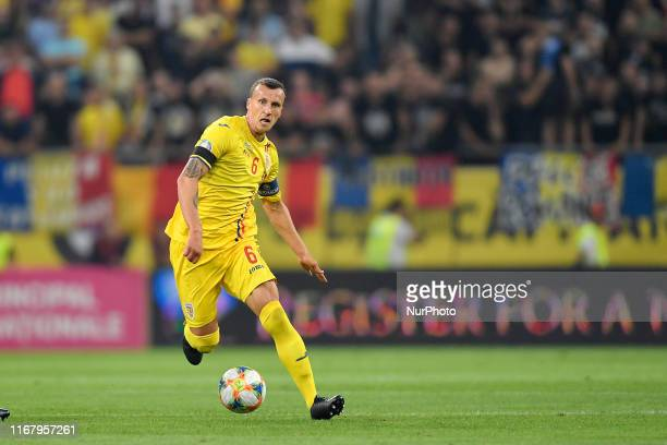 Romania's Vlad Chiriches in action during the UEFA EURO 2020 group F qualifying football match Romania vs Spain at Arena Nationala on September 05,...