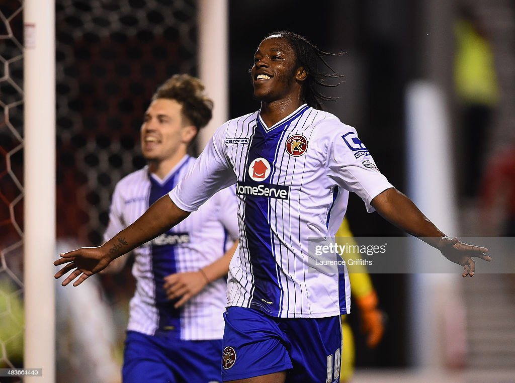 Romanine Sawyers of Walsall celebrates scoring the third goal during the Capital One Cup First Round match between Nottingham Forest and Walsall at City Ground on August 11, 2015 in Nottingham, England.