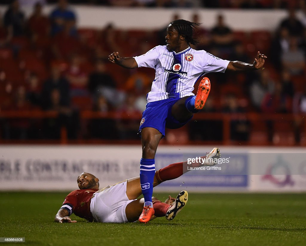 Romanine Sawyers of Walsall scores the third goal during the Capital One Cup First Round match between Nottingham Forest and Walsall at City Ground on August 11, 2015 in Nottingham, England.