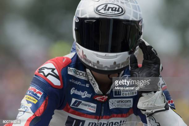 Romano Fenati of Italy and Marinelli Rivacold Snipers Team celebrates at the end of the Moto3 Race during the MotoGP Netherlands RaceMotoGP...