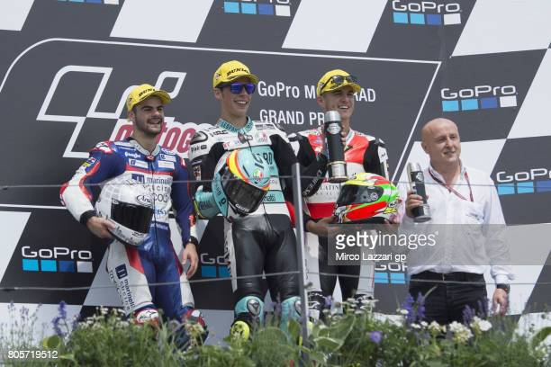 Romano Fenati of Italy and Marinelli Rivacold Snipers Team Joan Mir of Spain and Leopard Racing and Marcos Ramirez of Spain and Platinum Bay Real...