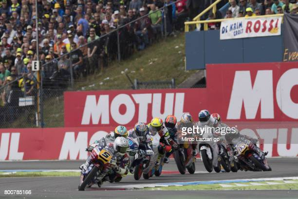 Romano Fenati of Italy and Marinelli Rivacold Snipers Team leads the field during the Moto3 Race during the MotoGP Netherlands Race on June 25 2017...