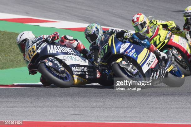 Romano Fenati of Italy and Marinelli Snipers Team leads the filed during the Moto2 race during the MotoGP of San Marino Race at Misano World Circuit...