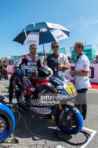 Romano Fenati of Italy and Marinelli Snipers Team prepares to start on the grid during the Moto2 race during the MotoGP of San Marino Race at Misano...