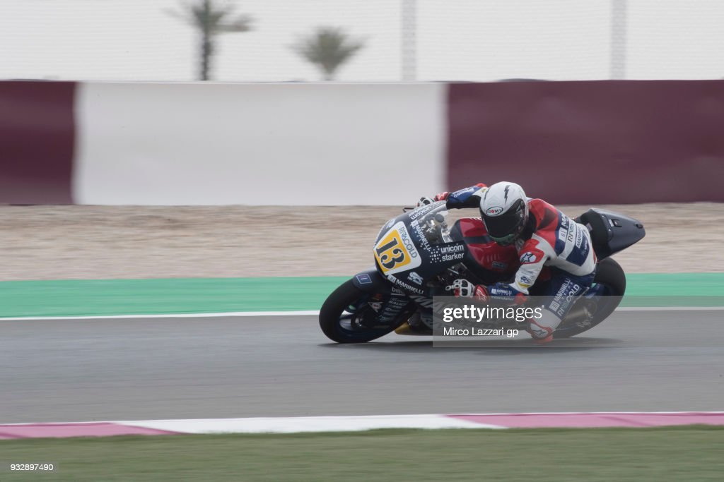 Romano Fenati of Italy and Marinelli Snipers Team rounds the bend during the MotoGP of Qatar - Free Practice at Losail Circuit on March 16, 2018 in Doha, Qatar.