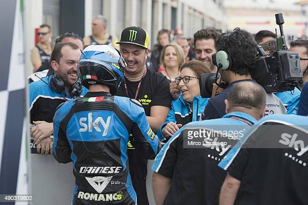 Romano Fenati of Italy and Sky Racing Team by VR46 celebrates with team the third place during the Moto3 race during the MotoGP of Spain Race at...