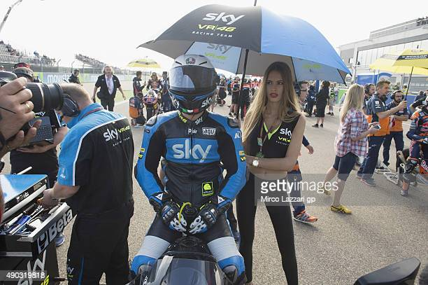 Romano Fenati of Italy and Sky Racing Team by VR46 prepares to start on the grid during the Moto3 race during the MotoGP of Spain Race at Motorland...