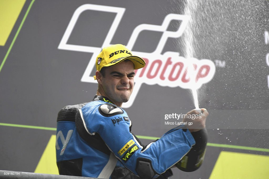 Romano Fenati of Italy and Sky Racing Team VR46 celebrates on the podium the second place at the end of the Moto3 race during the MotoGp of France - Race at on May 8, 2016 in Le Mans, France.