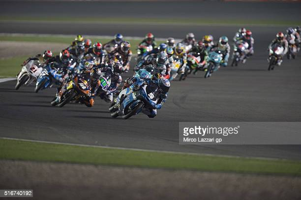 Romano Fenati of Italy and Sky Racing Team VR46 leads the field during the Moto3 race during the MotoGp of Qatar Race at Losail Circuit on March 20...