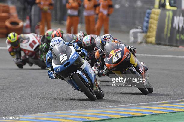 Romano Fenati of Italy and Sky Racing Team VR46 leads the field during the Moto3 race during the MotoGp of France Race at on May 8 2016 in Le Mans...