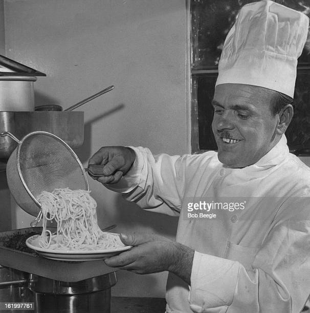 FEB 25 1957 MAR 11 1957 Romano Giugovazo former chef on the Italian luxury liner Andrea Doria finds spaghetti is popular in any language as he...
