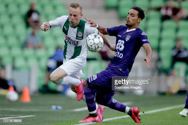 Romano Postema of FC Groningen Orestis Kiomourtzoglou of Heracles Almelo during the Club Friendly match between FC Groningen v Heracles Almelo at the...
