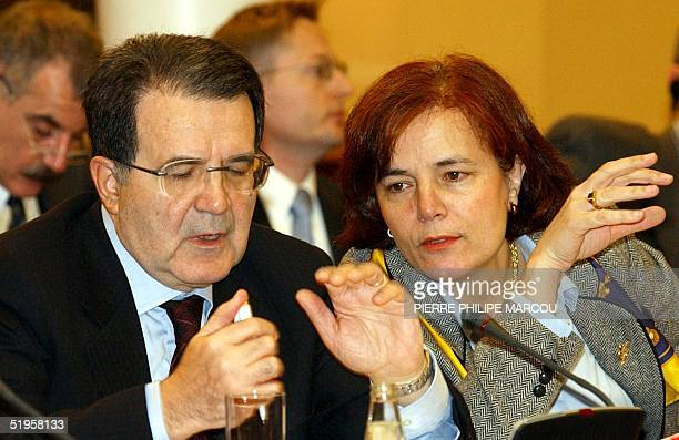 Romano Prodi EU Comission President is talking with Loyola de Palacio transport and energy comissioner in Moncloa Palace near Madrid 08 January 2002...