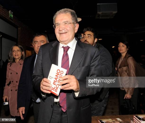 "Romano Prodi Italian economist, academic and political while signing copies of the new book ""Il piano inclinato"" before the conference..."