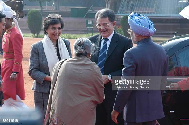 Romano Prodi Prime Minister of Italy and his wife Flavia Franzoni with Manmohan Singh Prime Minister of India and his wife Gursharan Kaur in New...