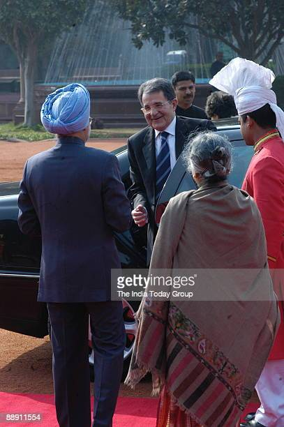 Romano Prodi Prime Minister of Italy and his wife Flavia Franzoni with Manmohan Singh Prime Minister of India and his wife Gursharan Kaur in New...