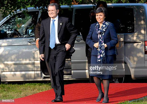 Romano Prodi prime minister of Italy left arrives with his wife Flavia Franzoni Prodi for the G8 dinner at Gut Hohen Luckow near Bad Doberan Germany...