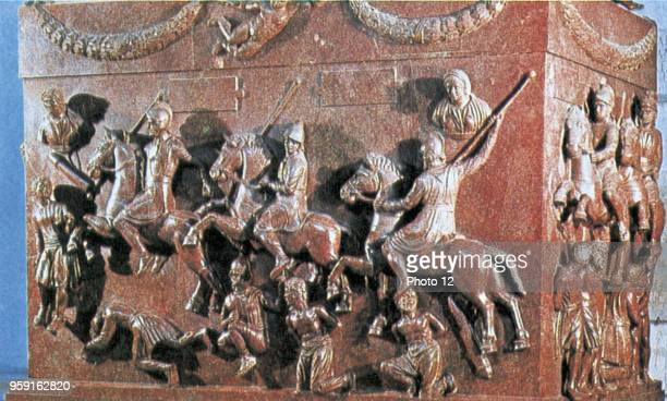 Romans and Germans fighting basrelief on a porphyry sarcophagus Rome Vatican's collections