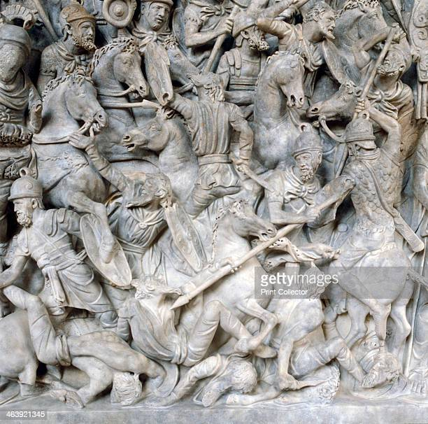Romans in battle against the Barbarians 2nd century Detail from the sarcophagus of a general of Roman emperor Marcus Aurelius From the National...