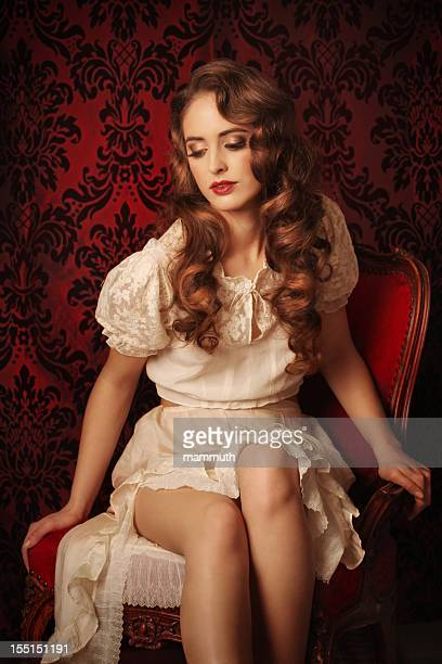 romantic beauty - victorian erotica stock photos and pictures