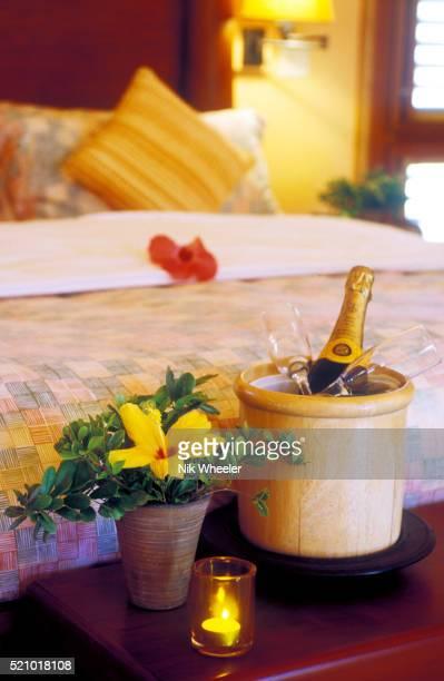 romantic bedroom with champagne - ダンモアタウン ストックフォトと画像