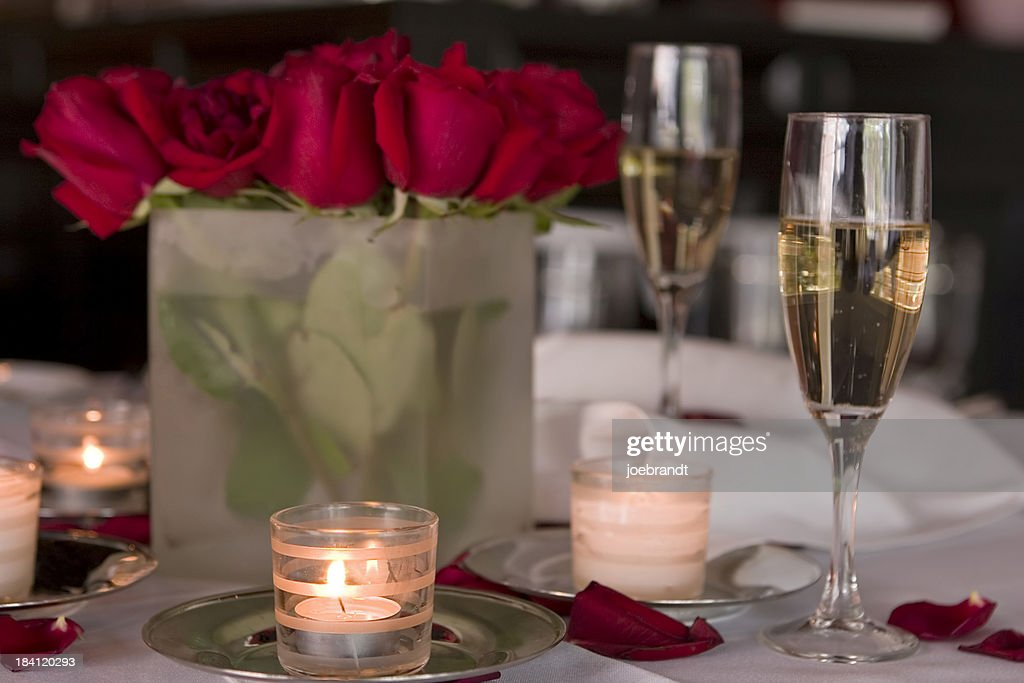 Romantic Candlelight Dinner for Two : Stock Photo