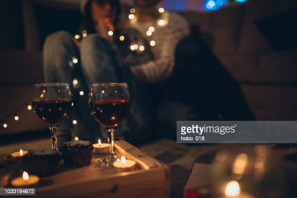 romantic christmas evening - romanticism stock pictures, royalty-free photos & images