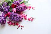 romantic composition spring flowers bouquet lilac