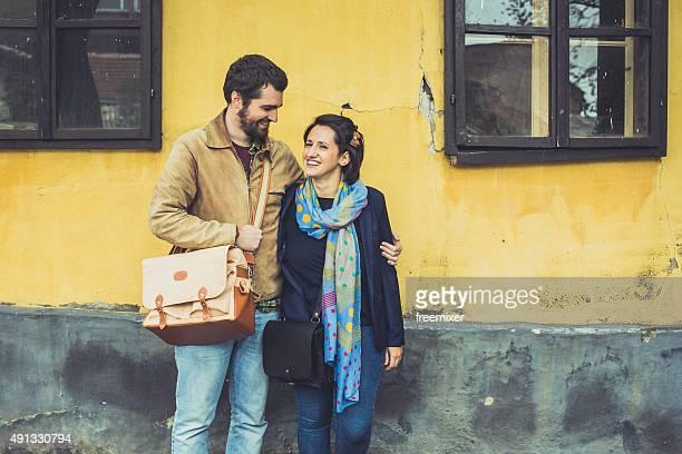 Romantic couple at street